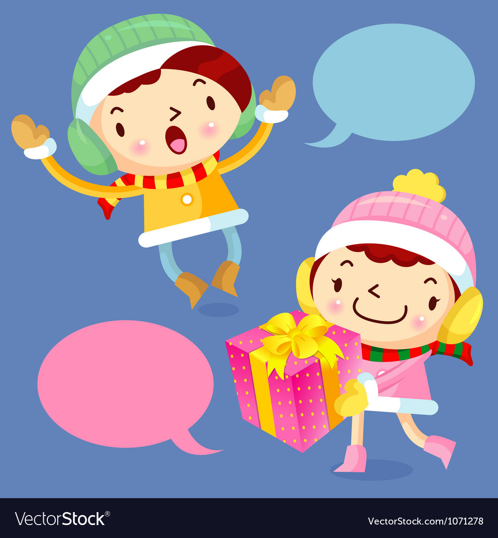 Happy gift and boys and girls winter season vector | Price: 3 Credit (USD $3)