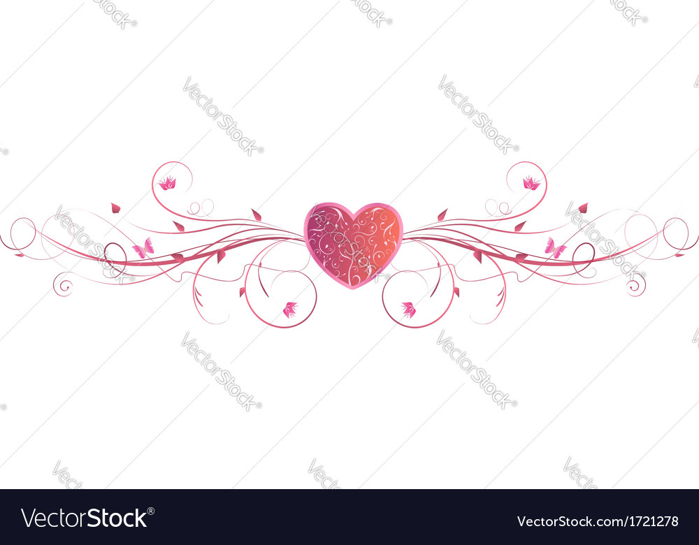 Pink heart floral vector | Price: 1 Credit (USD $1)