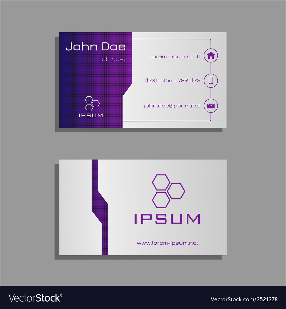Professional business card - purple and light grey vector | Price: 1 Credit (USD $1)