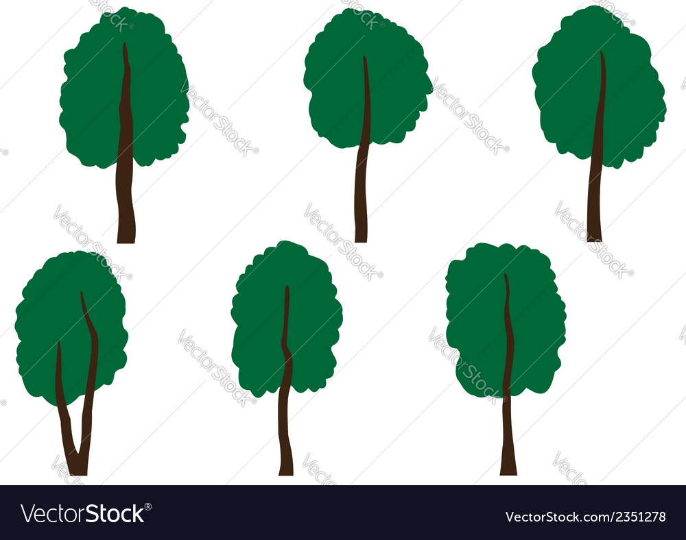 Set of different trees vector   Price: 1 Credit (USD $1)