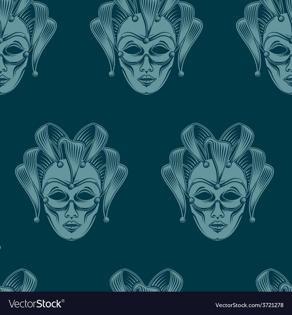 Venetian carnival mask seamless pattern vector | Price: 1 Credit (USD $1)