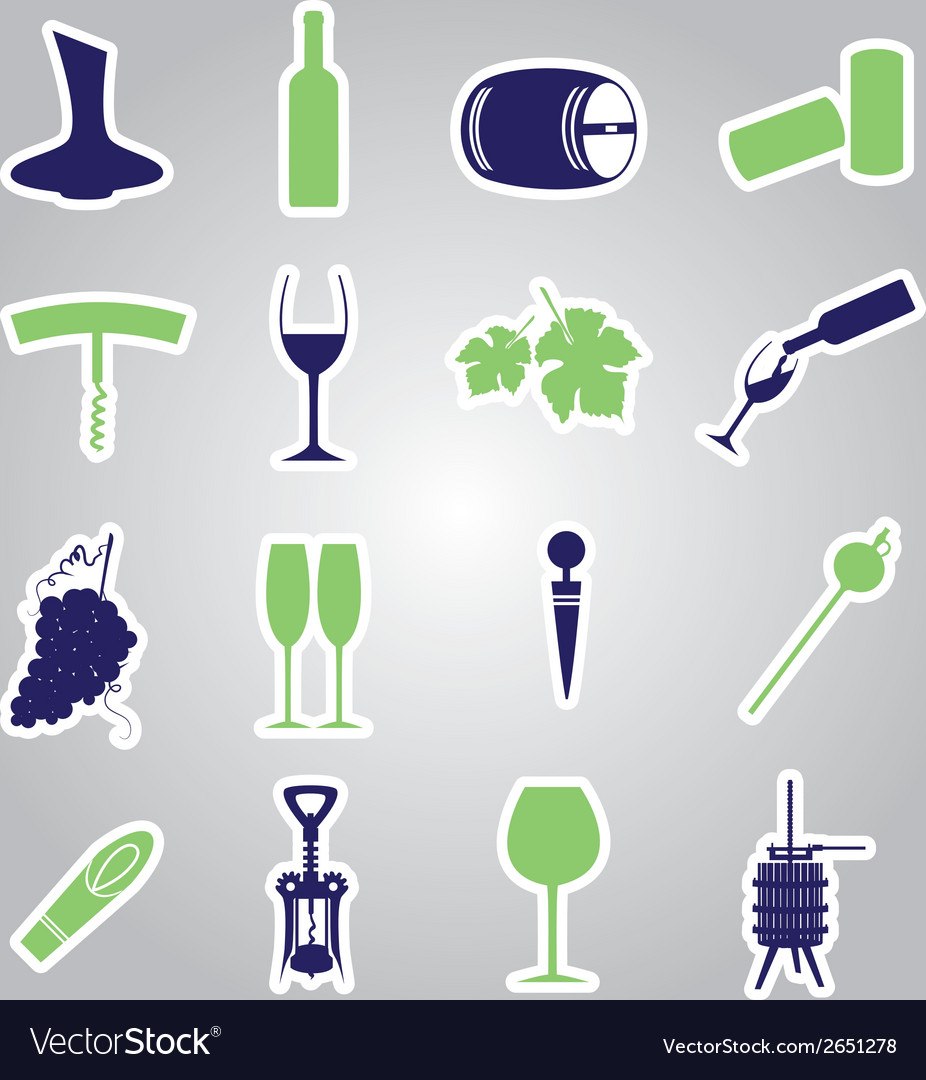 Wine stickers icon set eps10 vector | Price: 1 Credit (USD $1)