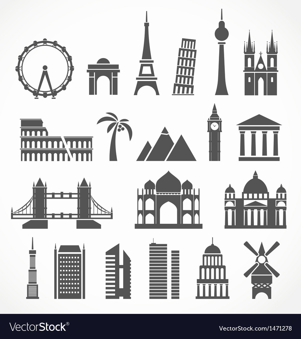 World famous signts abstract silhouettes vector | Price: 1 Credit (USD $1)