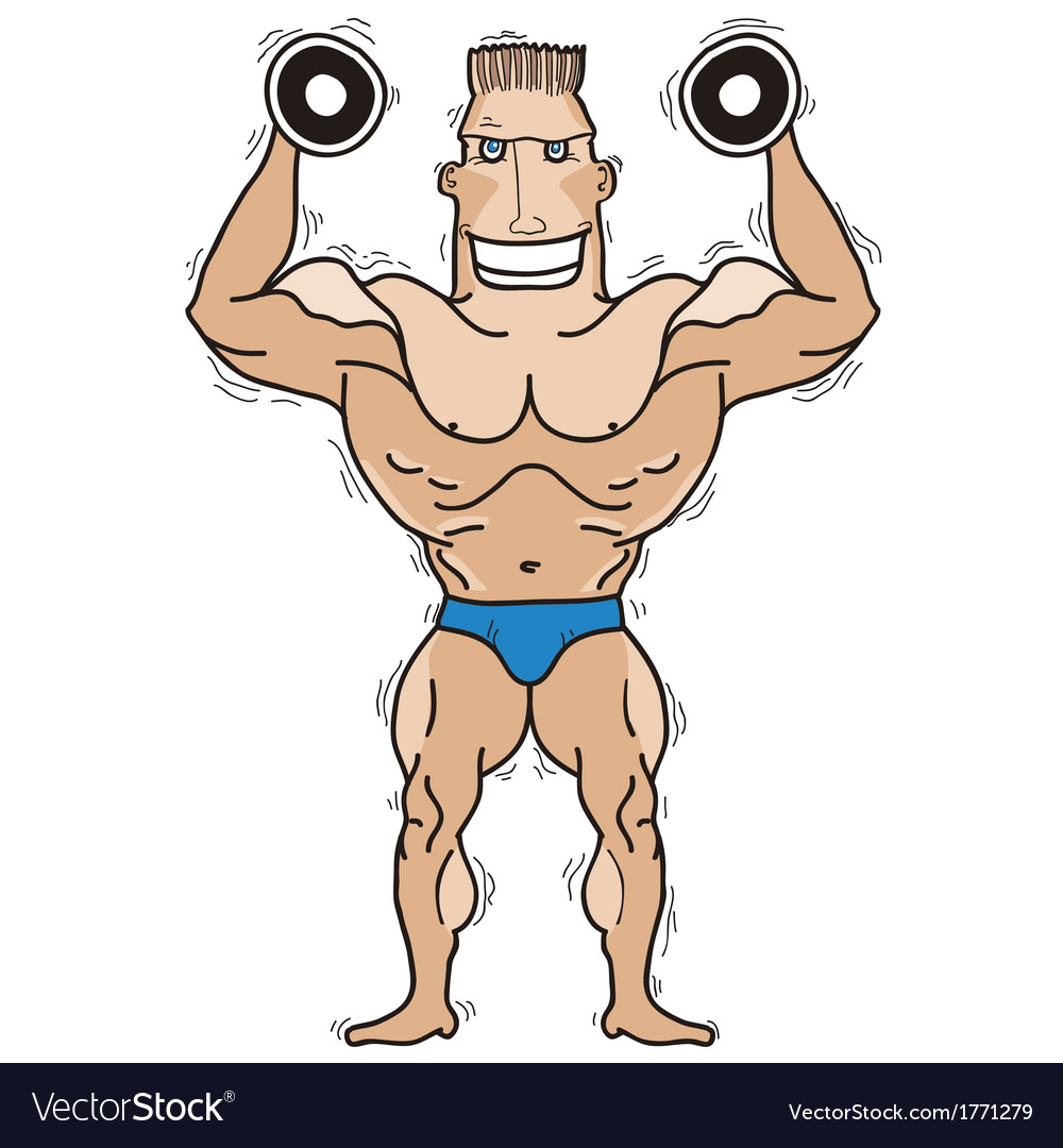Bodybuilder isolated on white vector | Price: 1 Credit (USD $1)