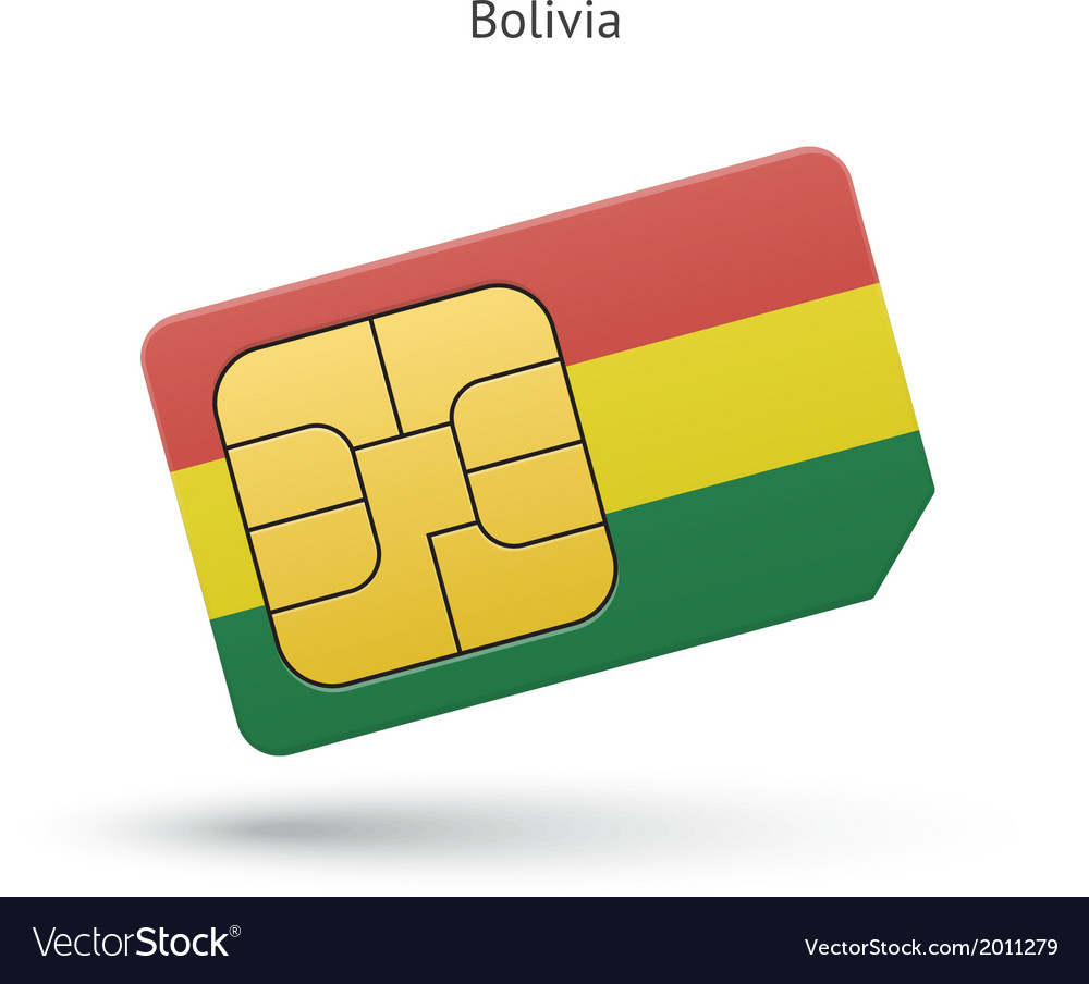 Bolivia mobile phone sim card with flag vector | Price: 1 Credit (USD $1)
