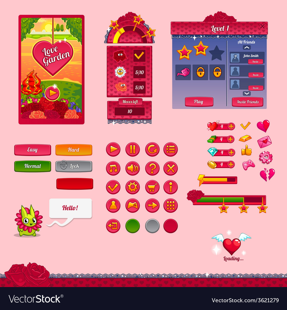 The design elements of the game interface vector | Price: 3 Credit (USD $3)