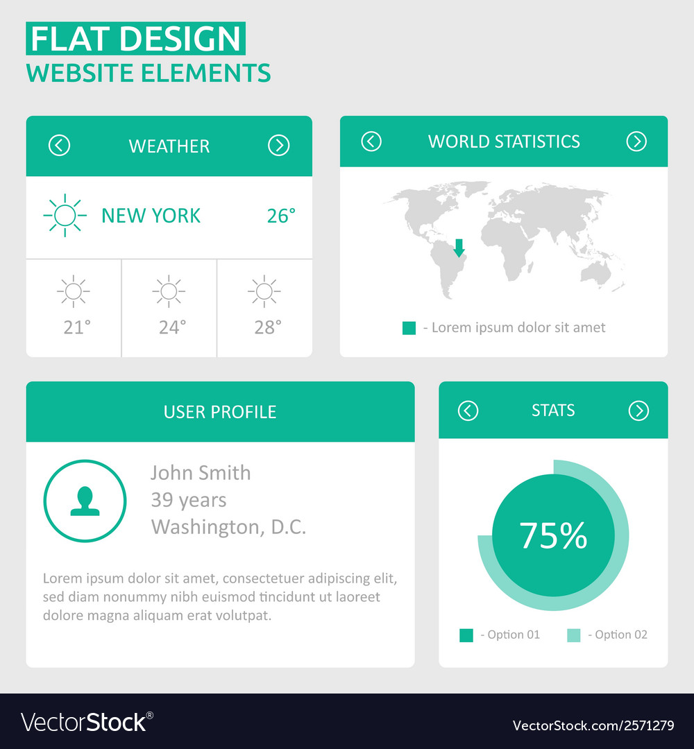 Flat ui design website elements vector | Price: 1 Credit (USD $1)