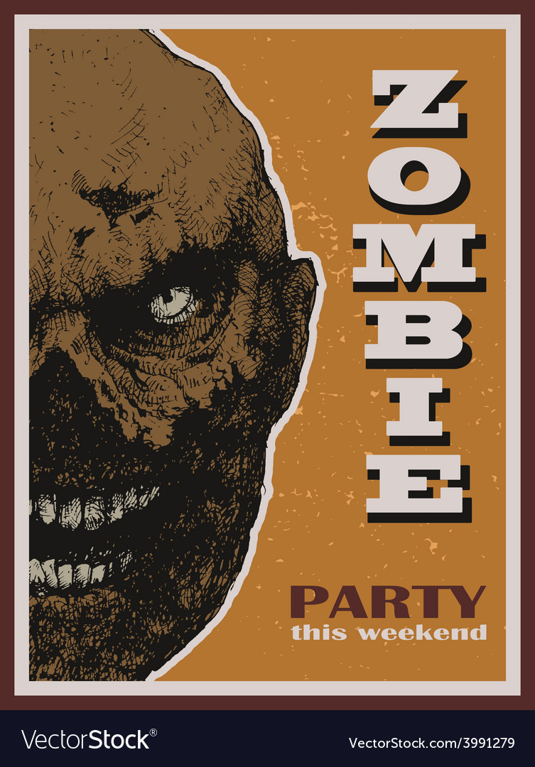Halloween zombie party banner vector | Price: 1 Credit (USD $1)