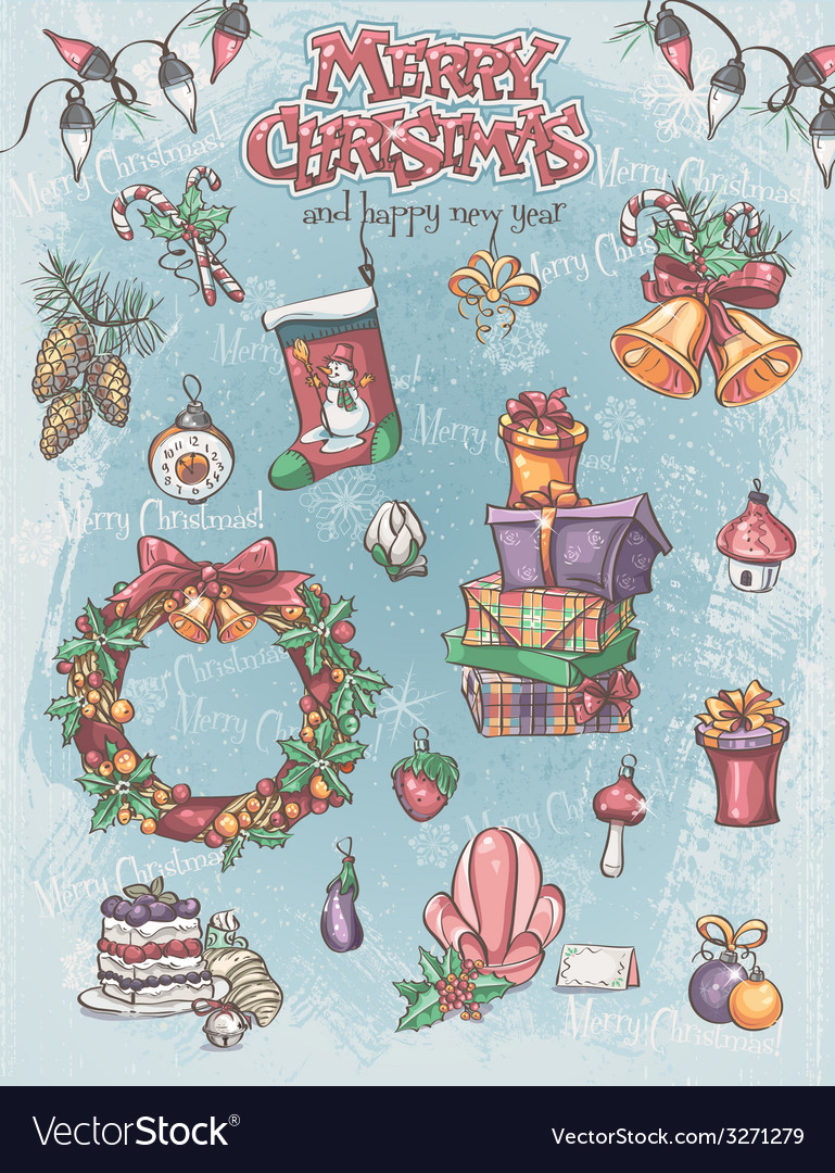 Set of christmas holiday items as well as vector | Price: 3 Credit (USD $3)