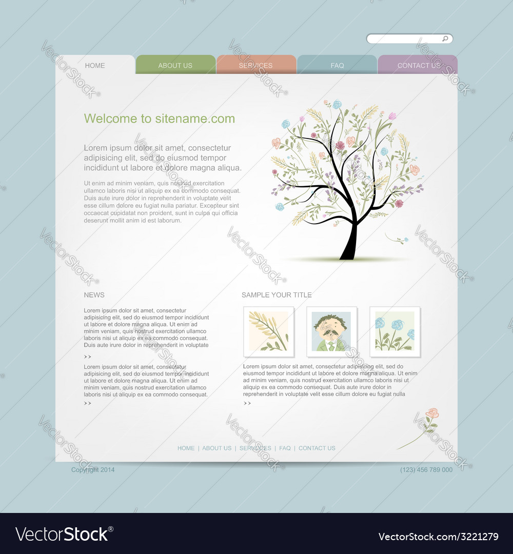 Website design template with floral tree vector | Price: 1 Credit (USD $1)