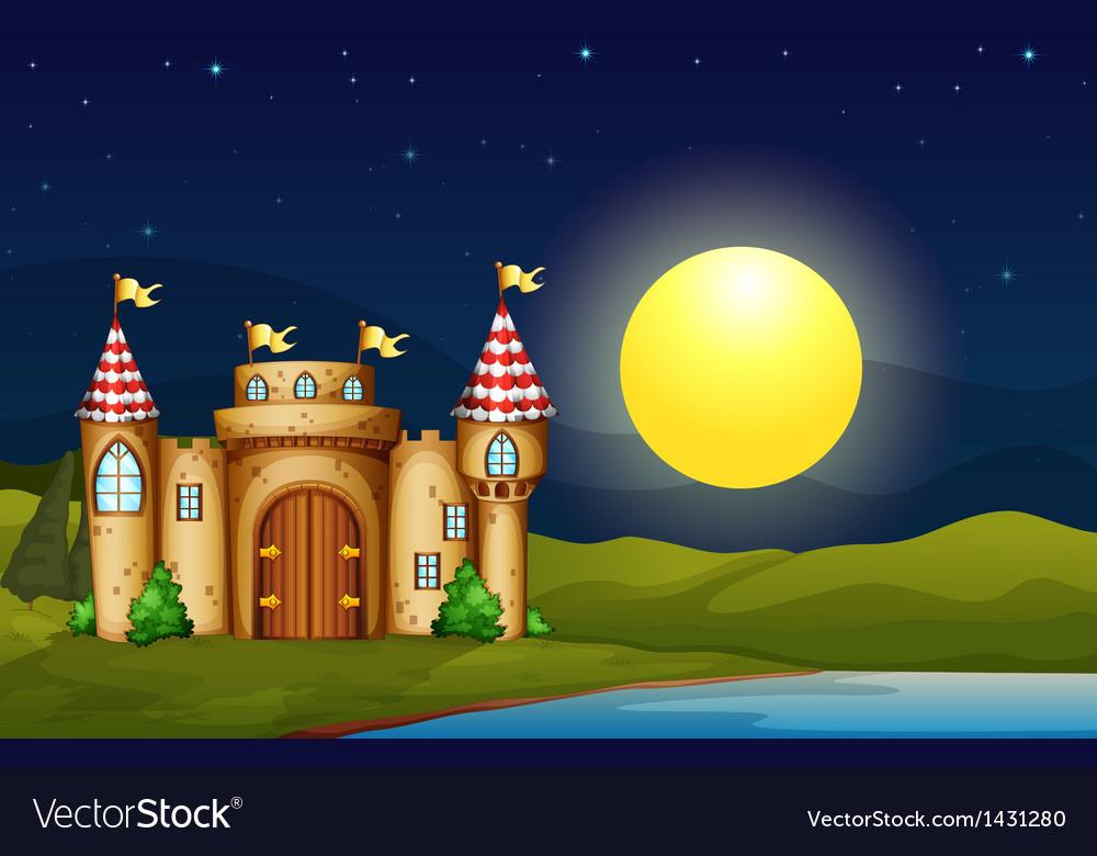 A castle near the river vector | Price: 1 Credit (USD $1)