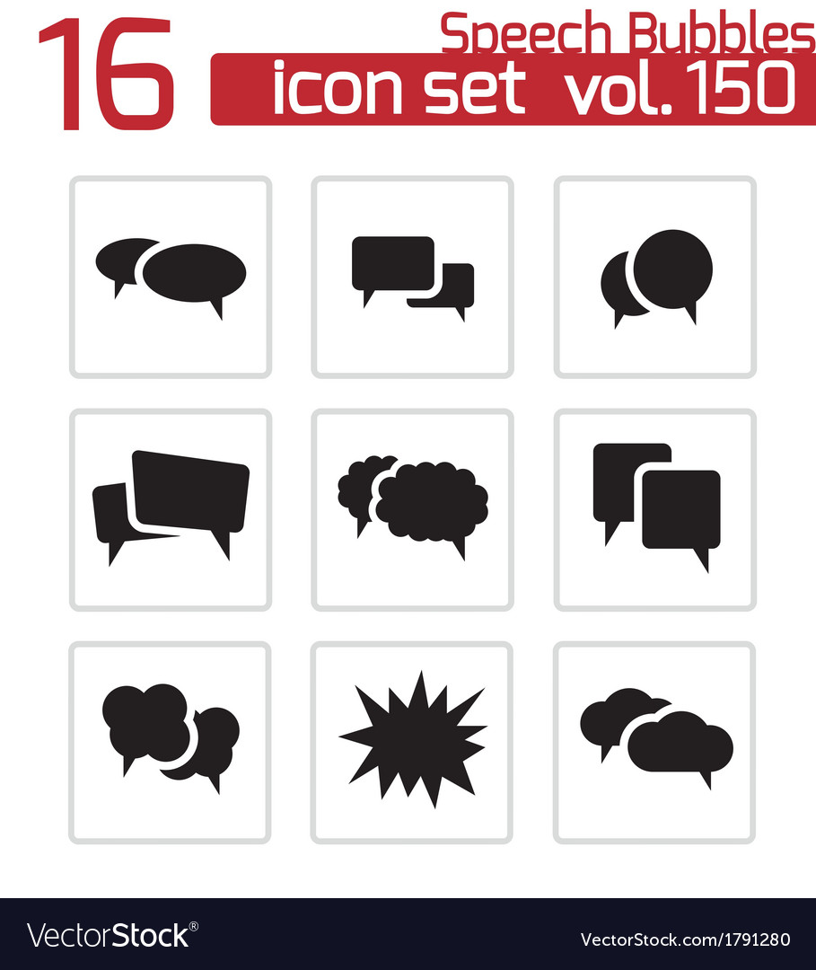 Black speech bubble icons set vector | Price: 1 Credit (USD $1)