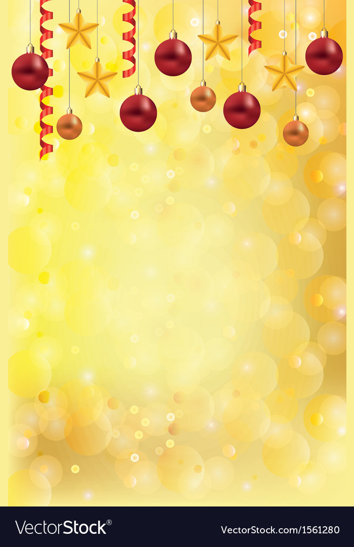Christmas gold background balls stars vector | Price: 1 Credit (USD $1)