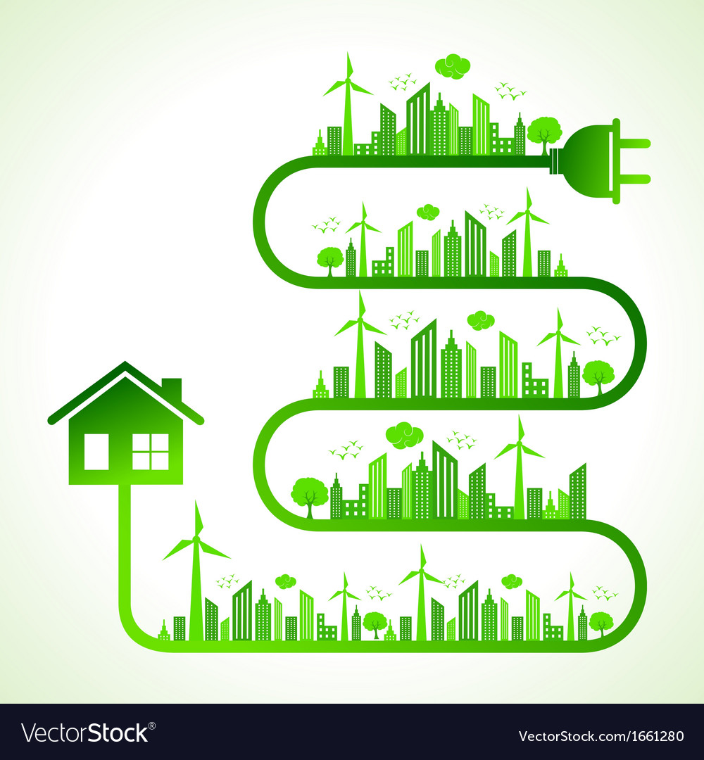 Ecology concept with home vector   Price: 1 Credit (USD $1)