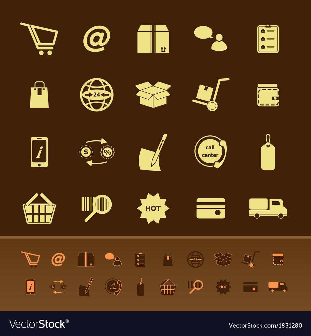 Ecommerce color icons on brown background vector | Price: 1 Credit (USD $1)