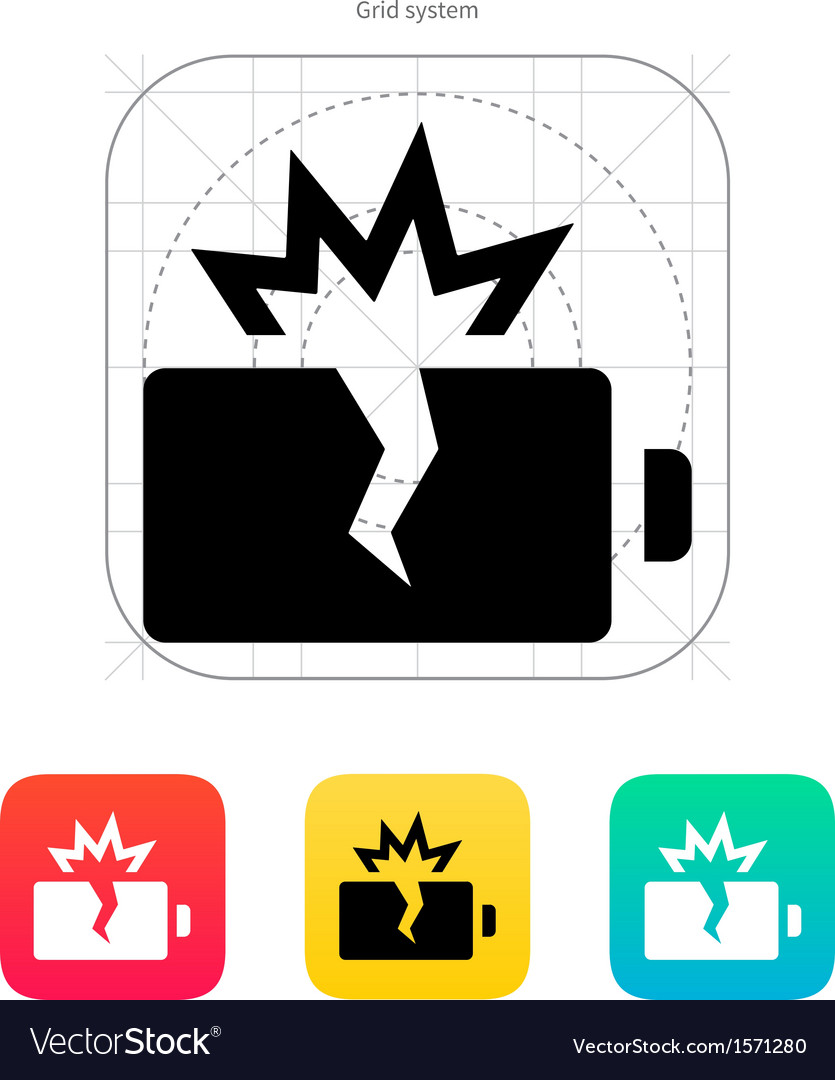 Explosion battery icon vector | Price: 1 Credit (USD $1)