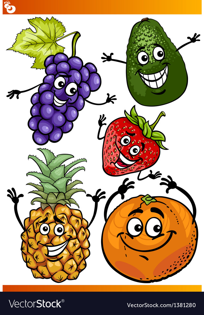 Funny fruits cartoon set vector | Price: 1 Credit (USD $1)
