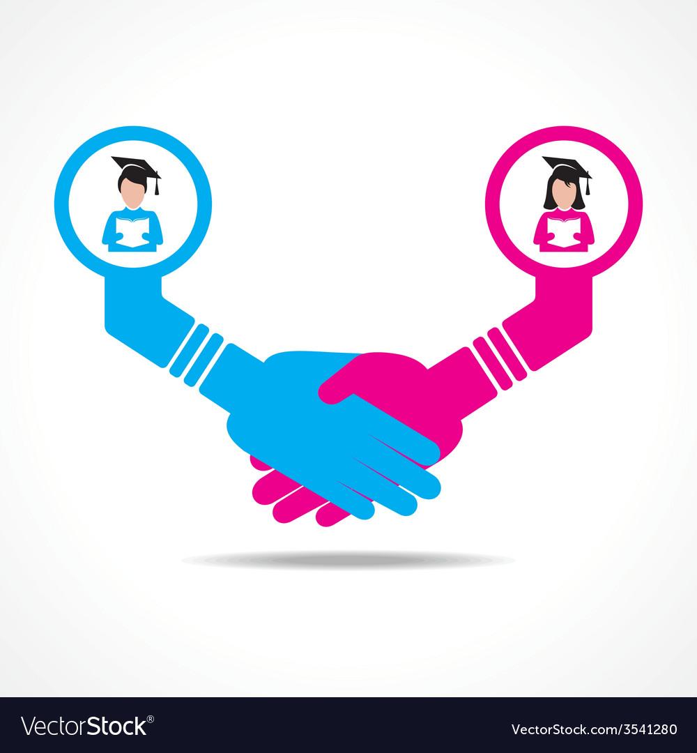 Handshake between educated men and women vector | Price: 1 Credit (USD $1)