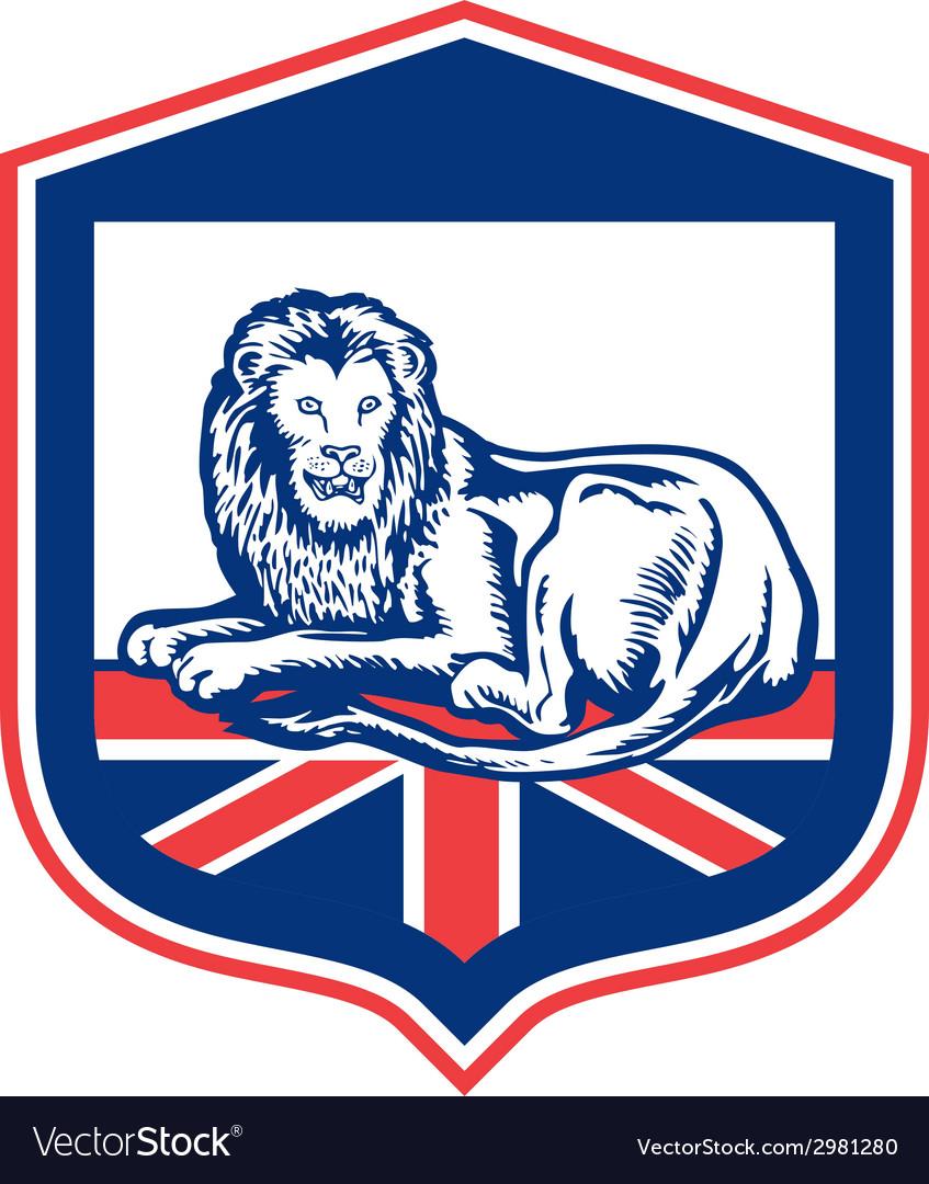 Lion lying british flag shield retro vector | Price: 1 Credit (USD $1)