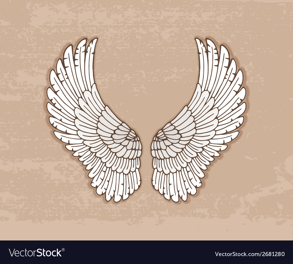 Pair of white wings in vintage style vector | Price: 1 Credit (USD $1)