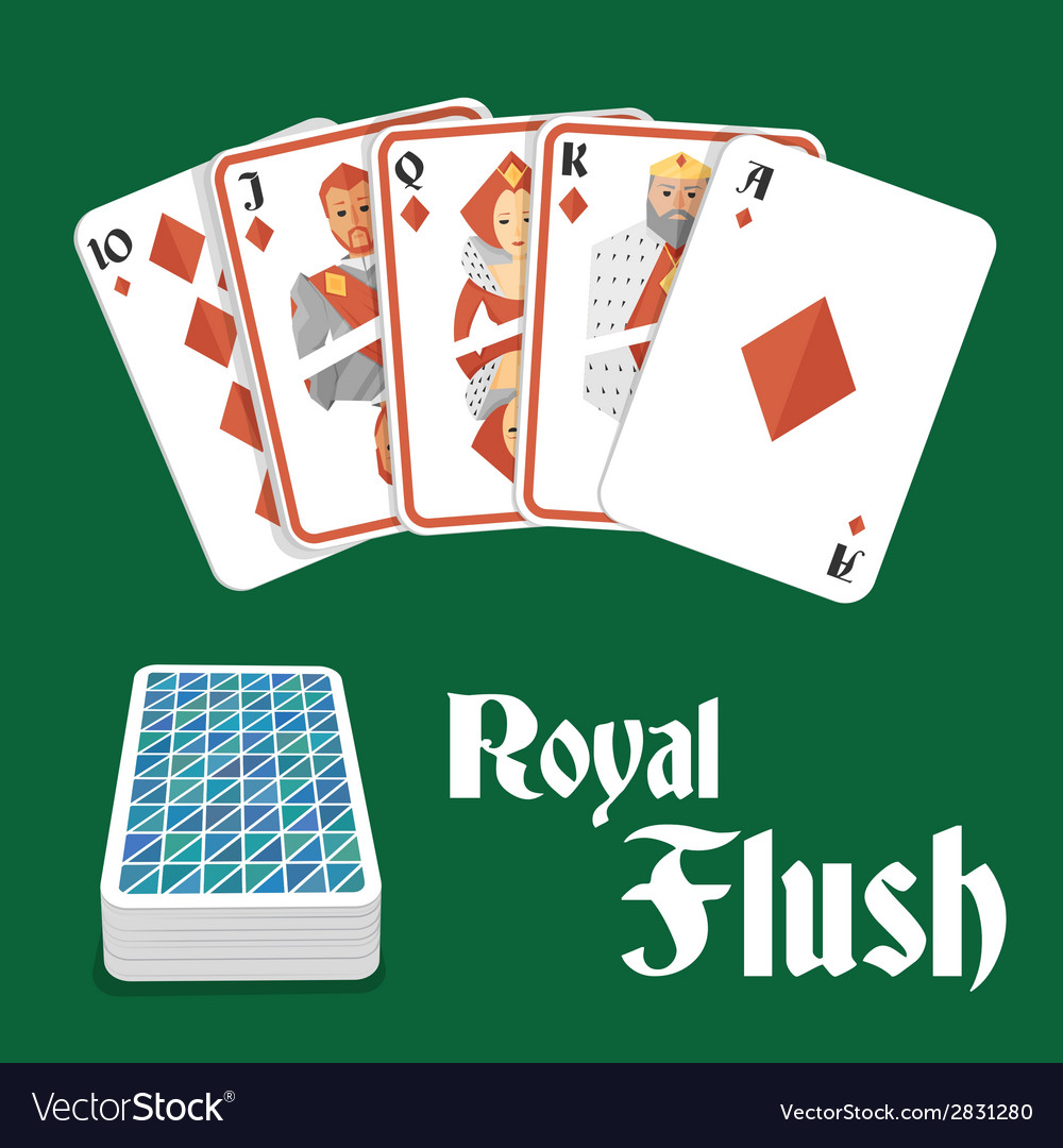 Poker hand royal flush vector | Price: 1 Credit (USD $1)
