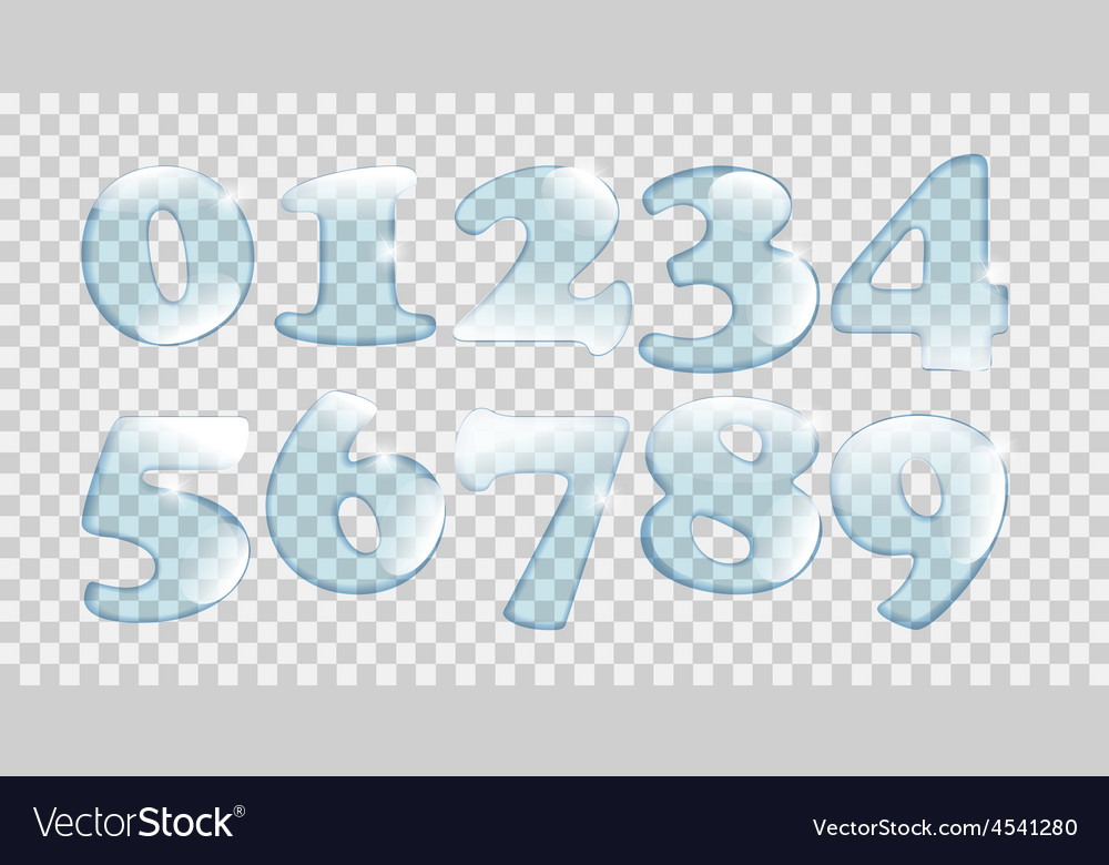 Realistic water drops number set on transparent vector | Price: 1 Credit (USD $1)