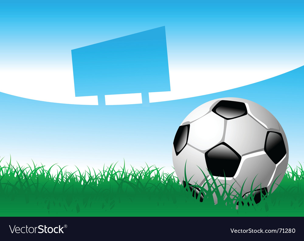 Soccer ball on grass field vector | Price: 1 Credit (USD $1)