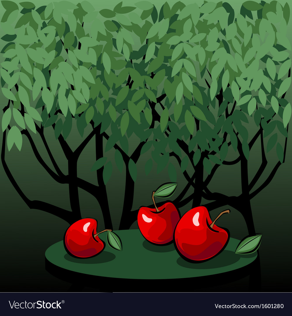 Tasty red apples in the mystic garden vector | Price: 1 Credit (USD $1)