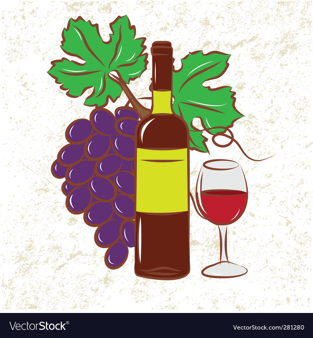 Vine and grapes colored vector | Price: 1 Credit (USD $1)