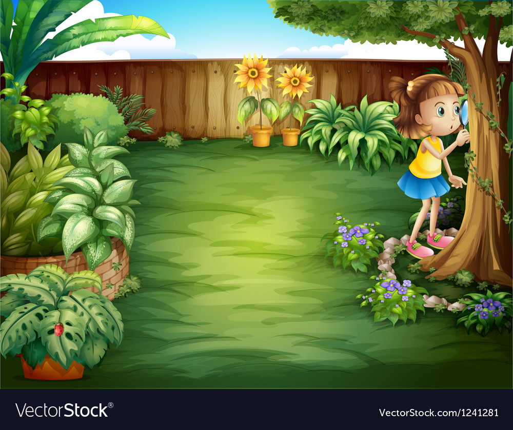 A little girl studying the plants in the garden vector | Price: 1 Credit (USD $1)