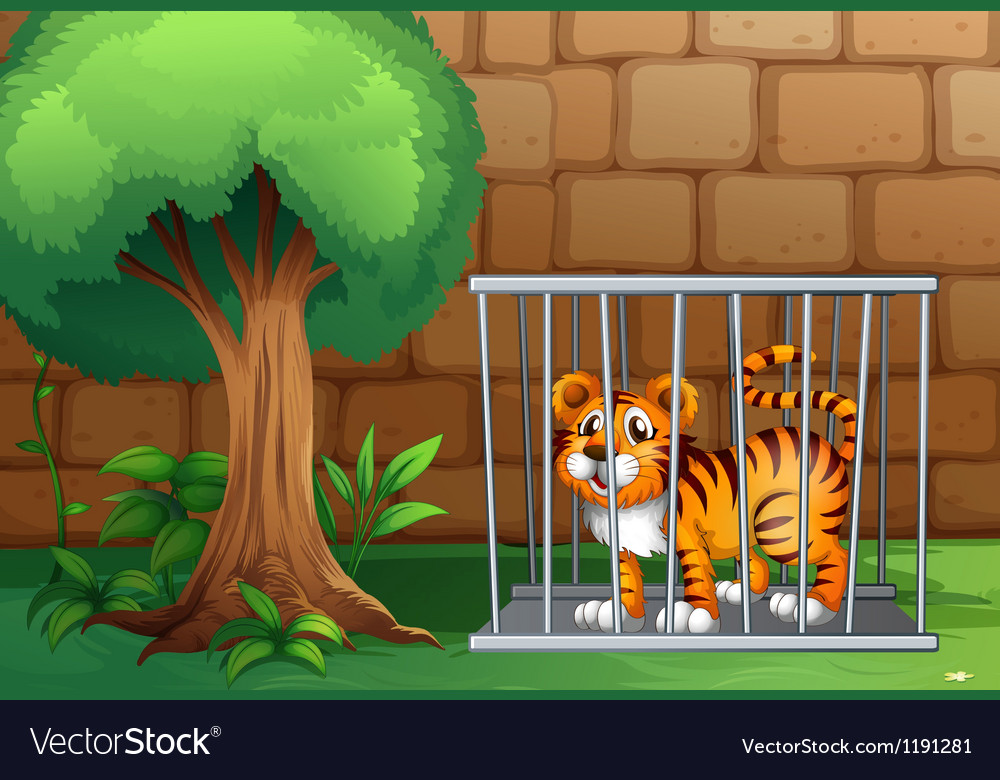 A tiger inside a steel cage vector | Price: 1 Credit (USD $1)