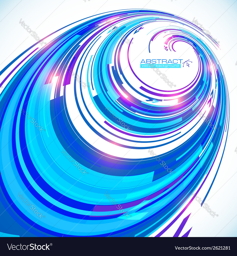 Abstract blue techno perspective spiral background vector | Price: 1 Credit (USD $1)