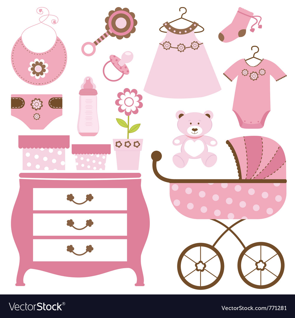 Baby shower pink vector | Price: 1 Credit (USD $1)