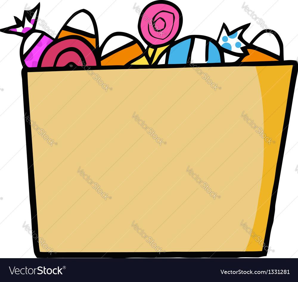 Cartoon halloween bucket of candy vector | Price: 1 Credit (USD $1)