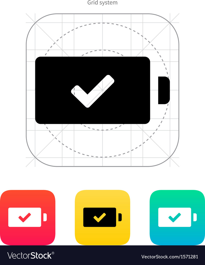 Charged battery icon vector | Price: 1 Credit (USD $1)