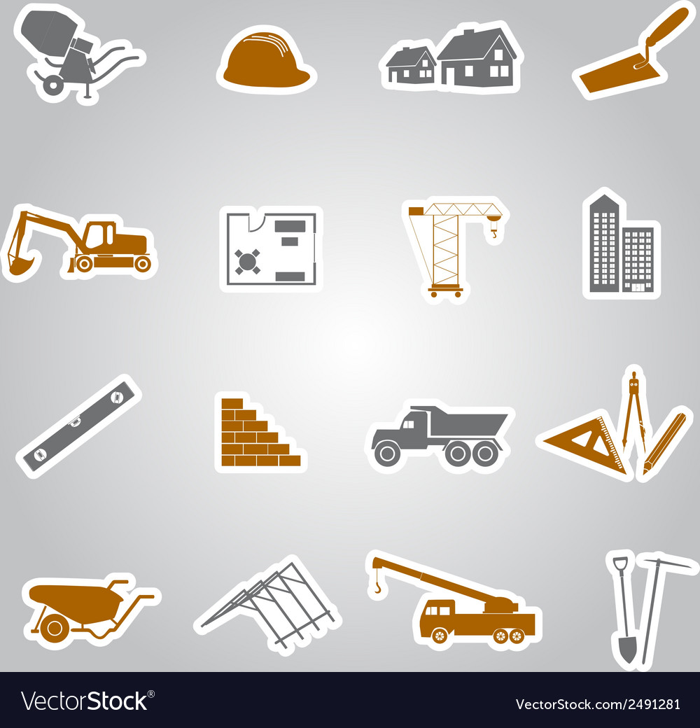 Construction stickers set eps10 vector | Price: 1 Credit (USD $1)