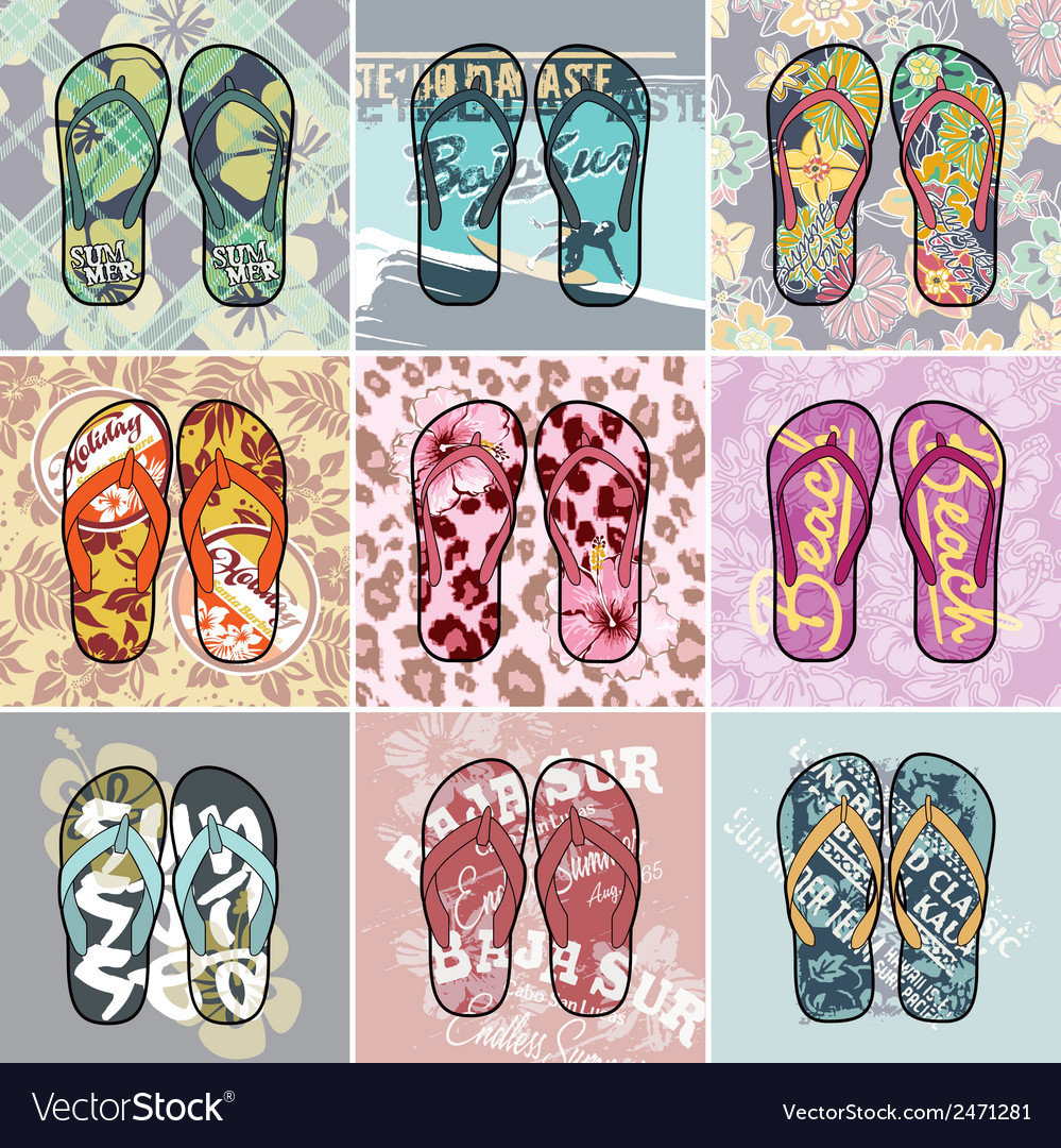 Flip flop collection vector | Price: 1 Credit (USD $1)