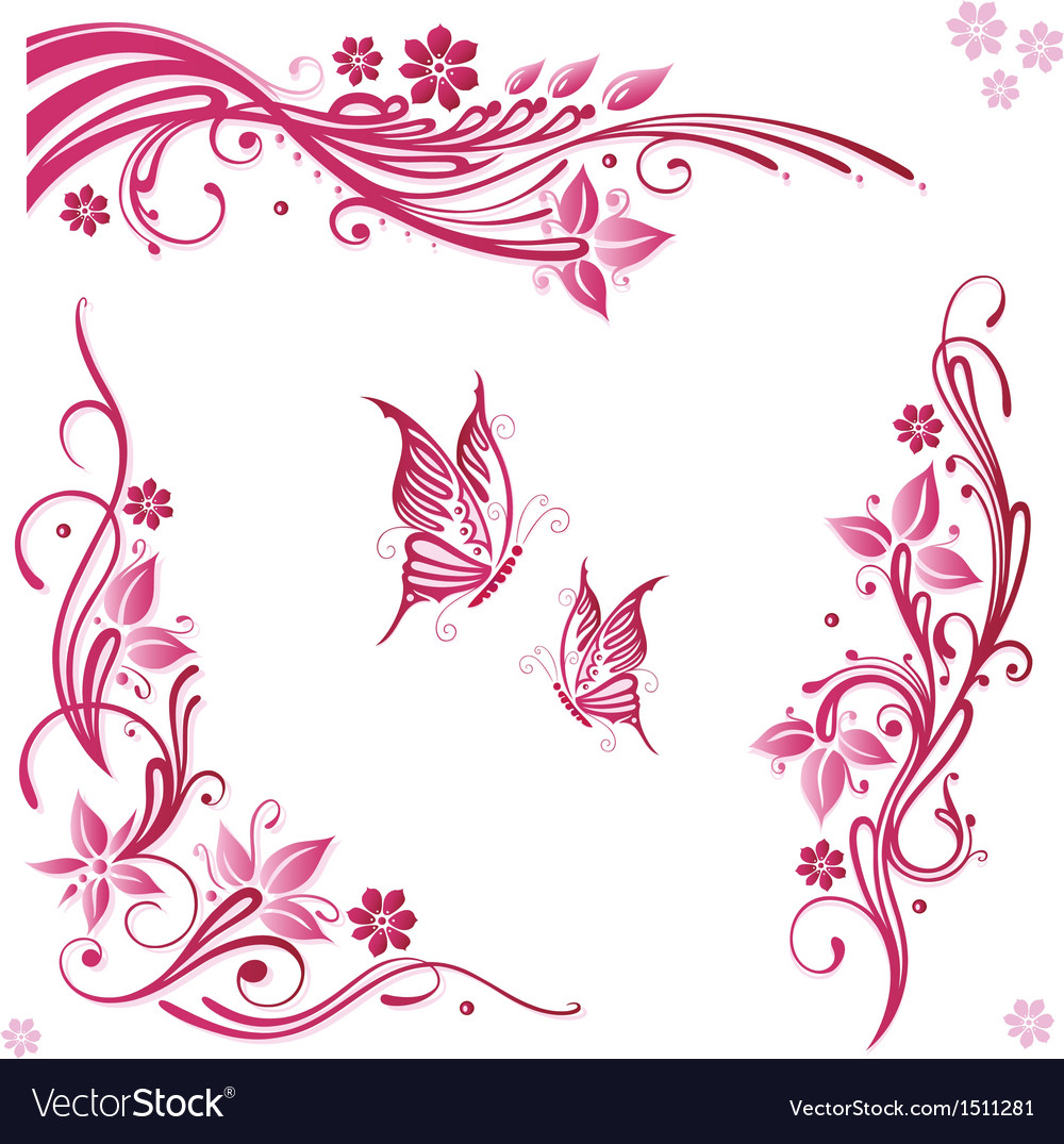 Flowers butterflies pink vector | Price: 1 Credit (USD $1)