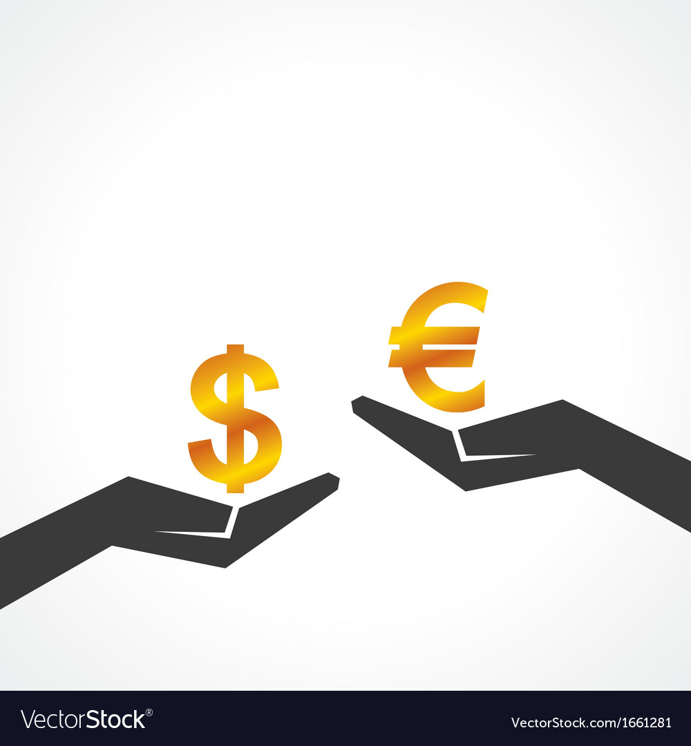 Hand hold dollar and euro symbol to compare vector | Price: 1 Credit (USD $1)