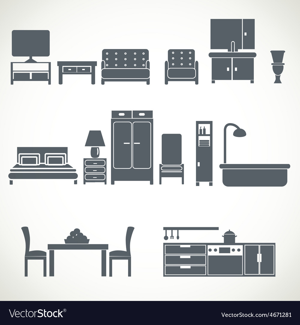 Home furniture design blackicons set vector | Price: 1 Credit (USD $1)