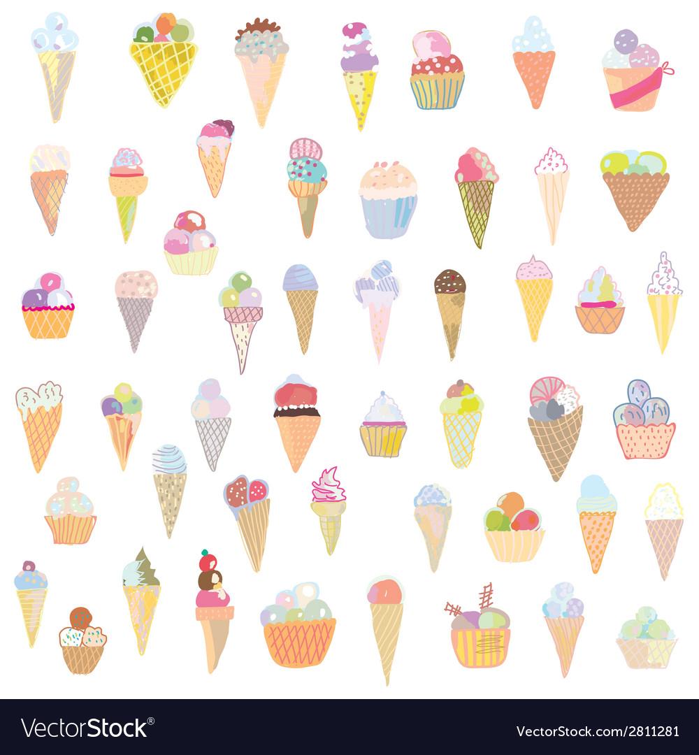 Ice cream set funny design - hand drawn vector | Price: 1 Credit (USD $1)