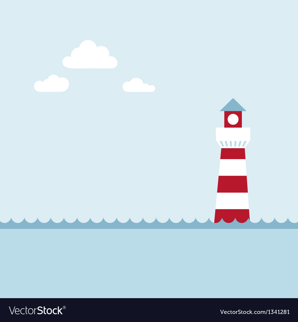 Lighthouse on the sea fairy shore vector | Price: 1 Credit (USD $1)