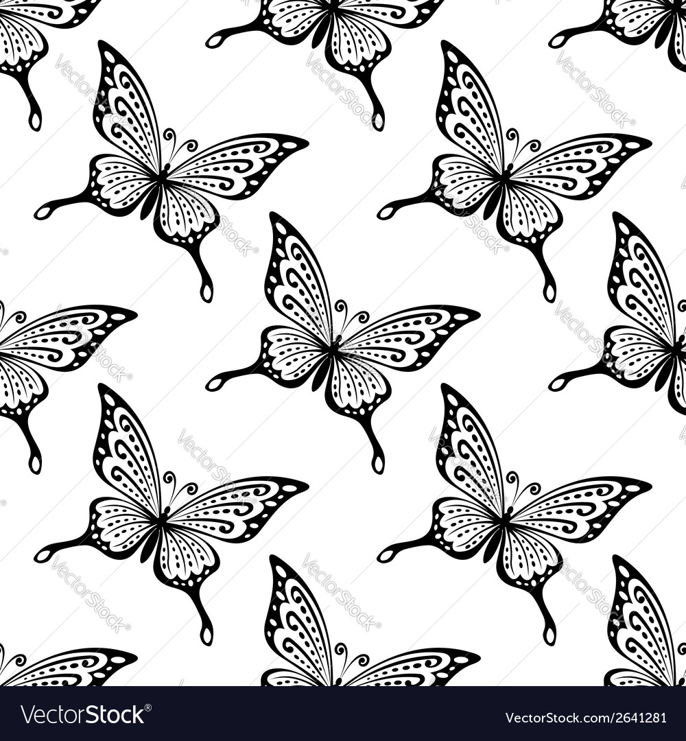 Seamless pattern of butterflies vector | Price: 1 Credit (USD $1)