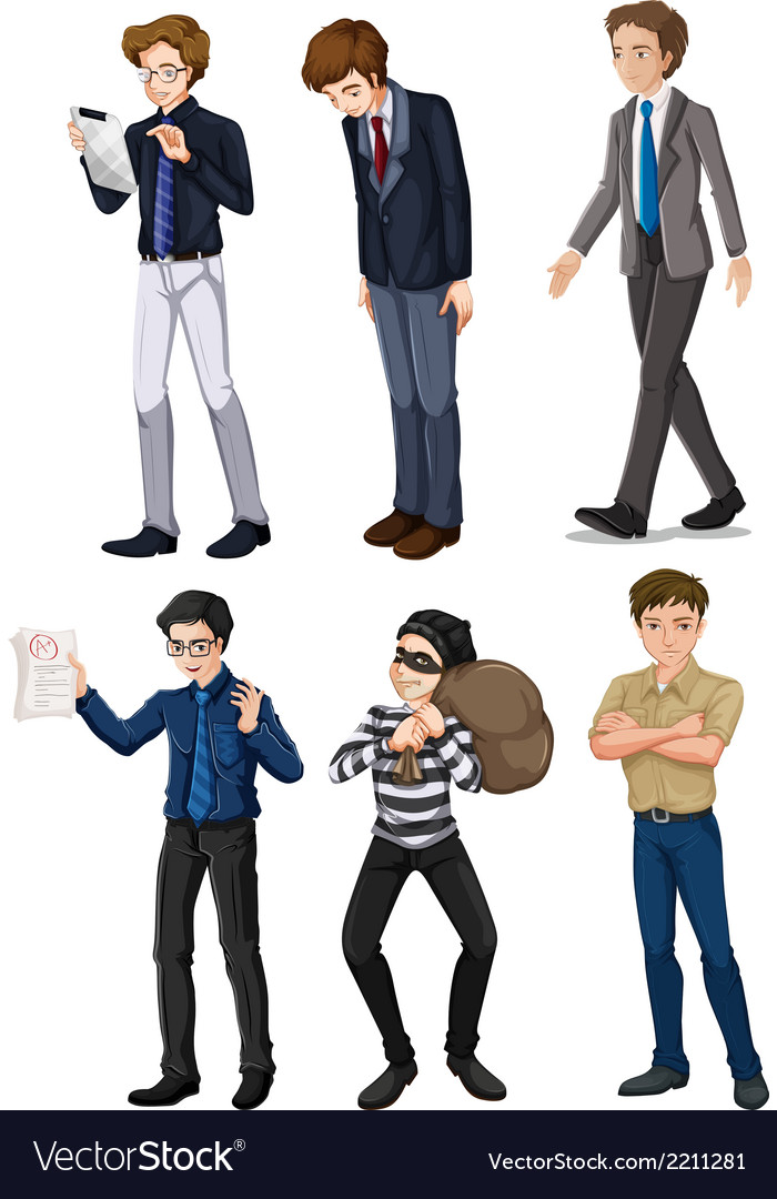 Six men with different works vector | Price: 3 Credit (USD $3)