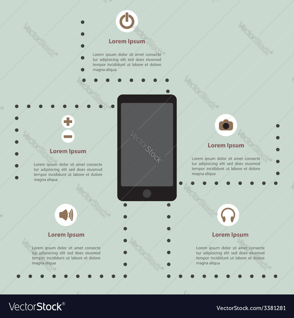 Smartphone infographic template vector | Price: 1 Credit (USD $1)