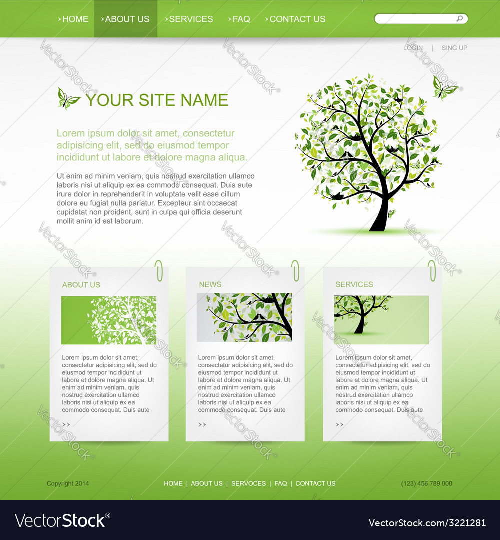 Website design template with green tree vector | Price: 1 Credit (USD $1)