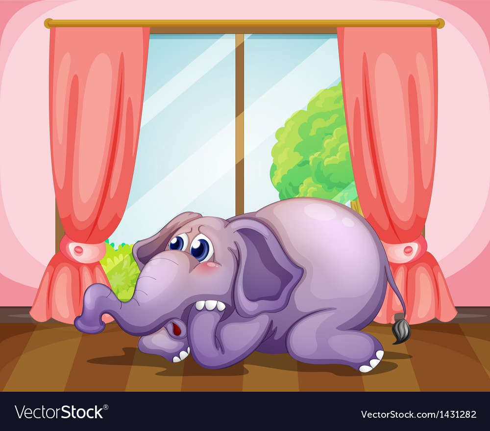 A worried face of an elephant inside the room vector | Price: 1 Credit (USD $1)