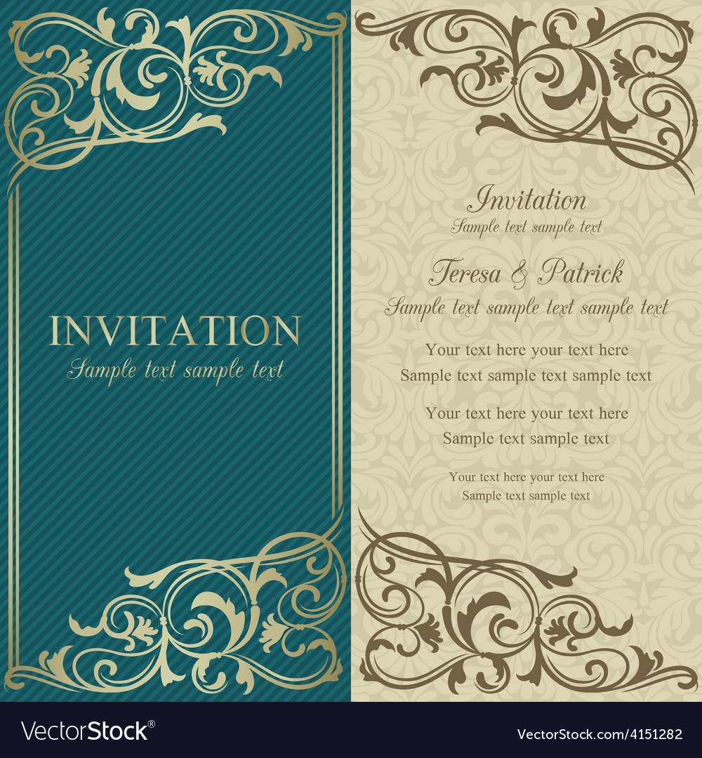 Baroque invitation blue and beige vector | Price: 1 Credit (USD $1)