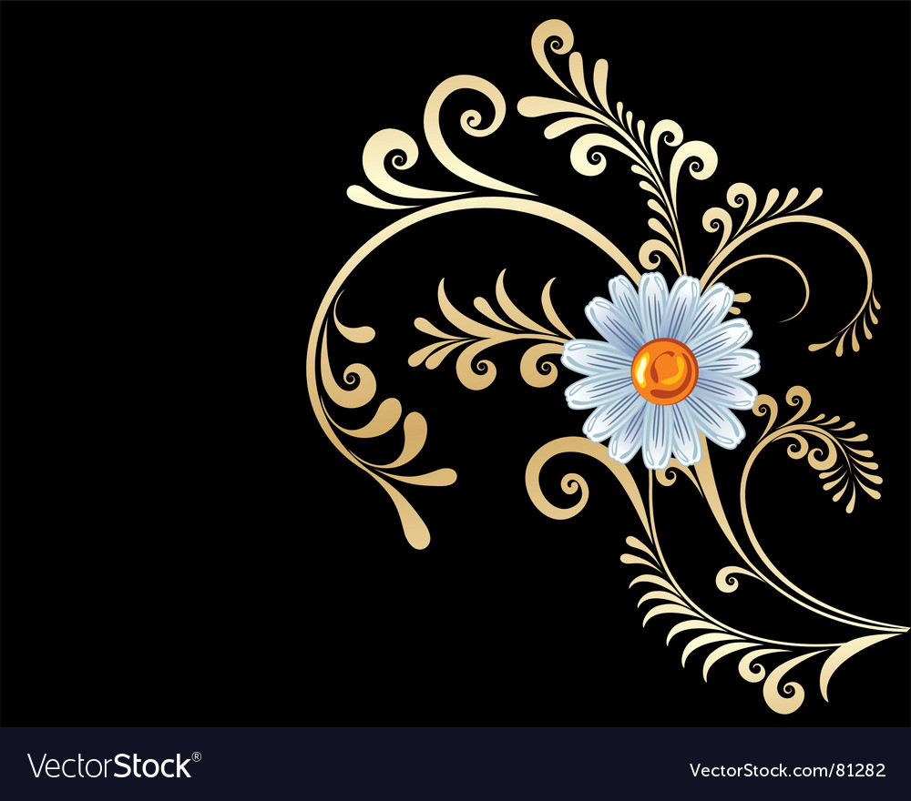Gold flowers background vector | Price: 1 Credit (USD $1)