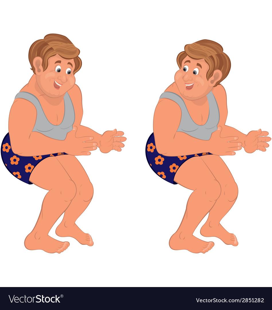 Happy cartoon man standing in underwear holding vector | Price: 1 Credit (USD $1)